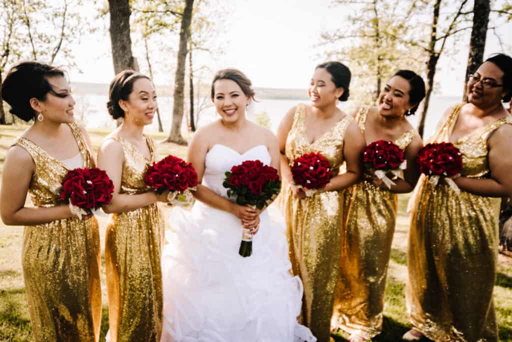 davids bridal, bridesmaids, the springs event center tulsa, veil, bride, updo, gold sequins, red roses, oklahoma brides, von maur