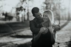 golden hour, black and white, engagement, sunset, woodward park,