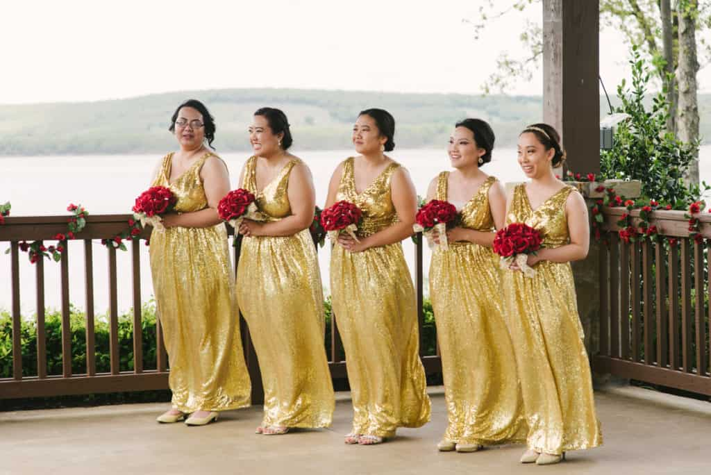gold glitter dress, bridesmaids dress, bouquets, red roses, outdoor ceremony, lake view, gazebo wedding, special photography, Oklahoma wedding