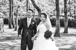 mr. and mrs., bride and groom, black and white, bouquet, white wedding, outdoor ceremony