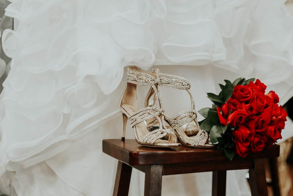 bridal shoes, bouquet, red roses, the dress, arrow springs event center,