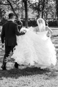 bridal gown, wedding veil, groom, bride