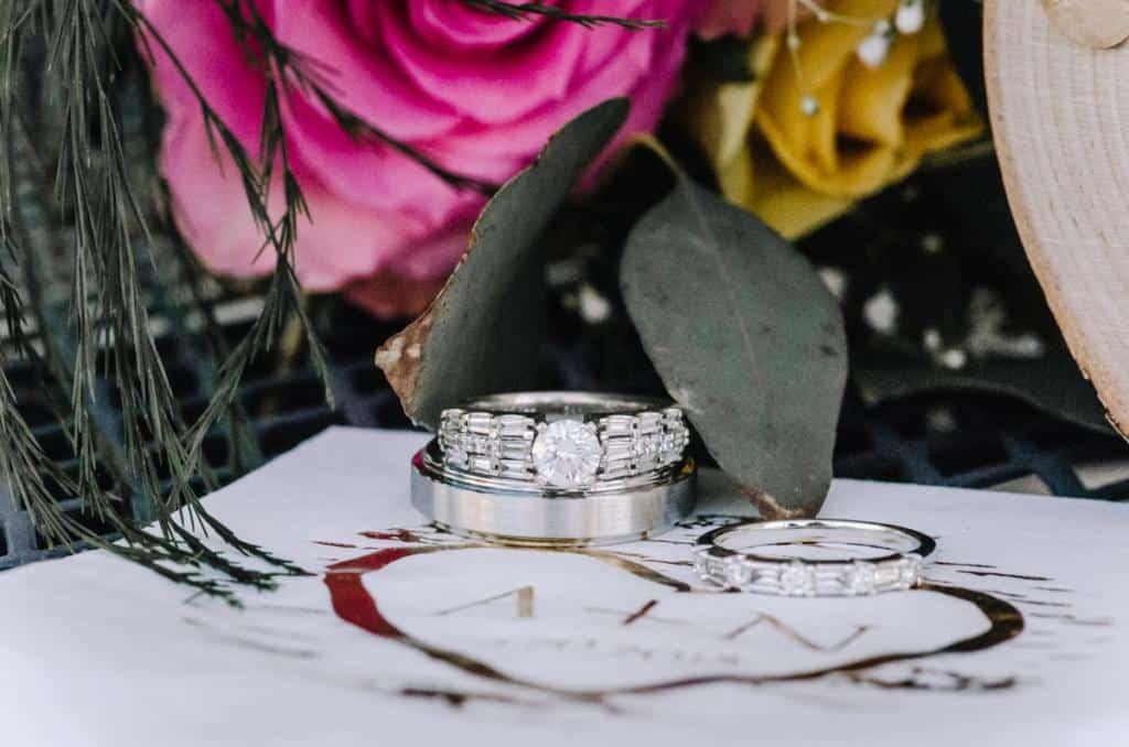 Wedding detail, pink rose, wedding invitation, yellow rose