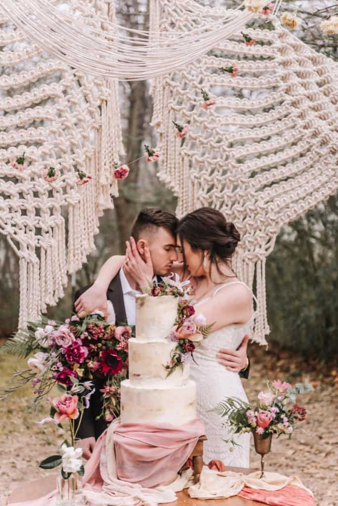 Oklahoma Wedding Florist, florist, floral, wedding design, boho, peonies, table setting, wedding photography, Broken Arrow photographers, Claremore florist, Bride, groom, bright and airy, outdoor, macrame, wedding rentals, Laurannae Bakery